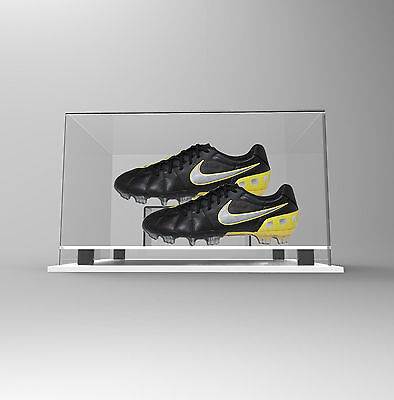 Double Boot Shoe Display Case Acrylic Perspex - Premium WHITE Autographed Signed