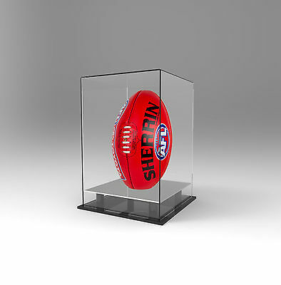 Football AFL Display Case Deluxe Acrylic Perspex-Upright/Vertical- SILVER Mirror