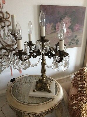 SHABBY Antique VTG CRYSTAL PRISM FRENCH ITALIAN STYLE Candelabra LAMP
