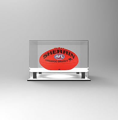 Football AFL Deluxe UV Acrylic Perspex  Display Case - Football Display - WHITE