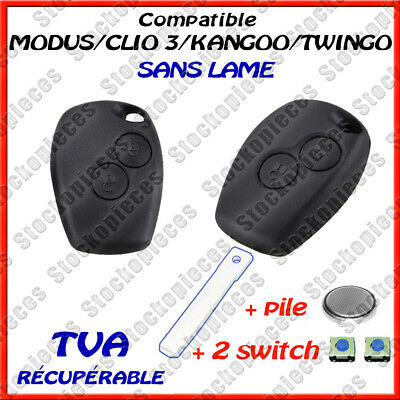 COQUE CLE PLIP CLEF RENAULT CLIO 3 MODUS TWINGO2 MASTER KANGOO + 2 switch + pile