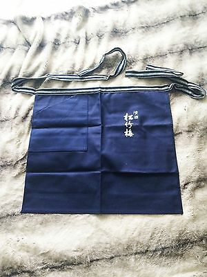 Japan Vintage Style Japanese Traditional Apron with Front pocket Kanji Navy