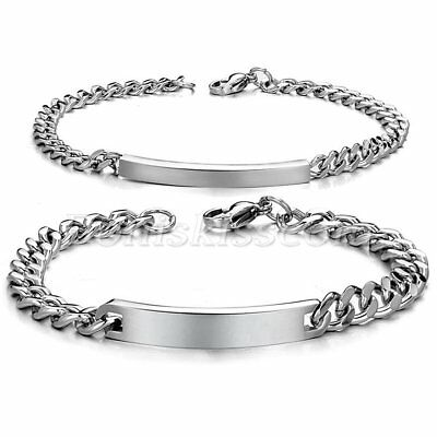 2pcs Couples Stainless Steel Classical Charm Bracelet Chain with Free Engraving