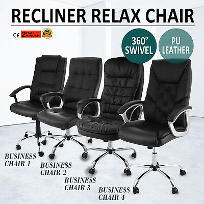 Business Leather faced swivel executive computer Office Chair in Black