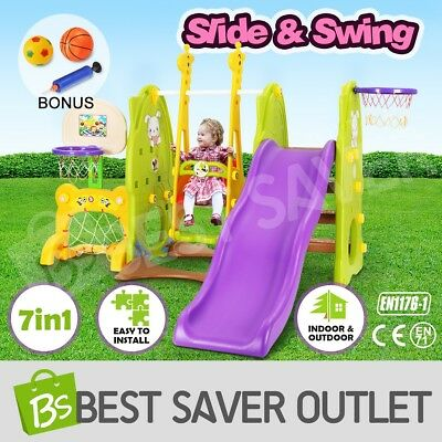 7in1 Kids Toddlers Play Toy Swing Slide Activity Center Set Basketball Ring Hoop