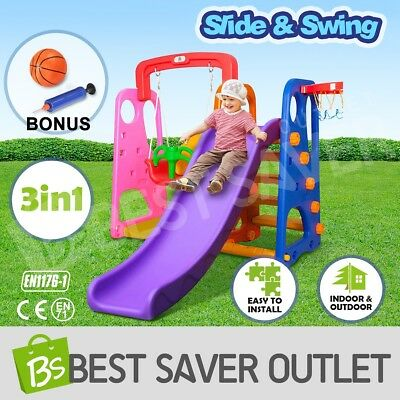 3in1 Swing and Slide Basketball Colorful Kids Outdoor Fun Play Activity Center