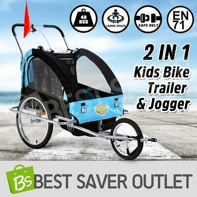 2IN1 Kidbot Kids Bike Trailer Child Bicycle Pram Stroller Children Jogger BLUE