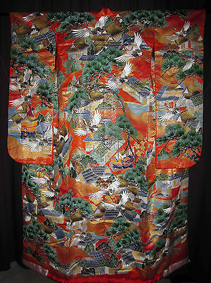 WALL HANGING ART KIMONO DECOR VINTAGE JAPANESE WEDDING UCHIKAKE Crane House Town