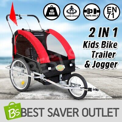 2in1 Kidbot Kids Bike Trailer Bicycle Pram Stroller Children Jogger Red+Black