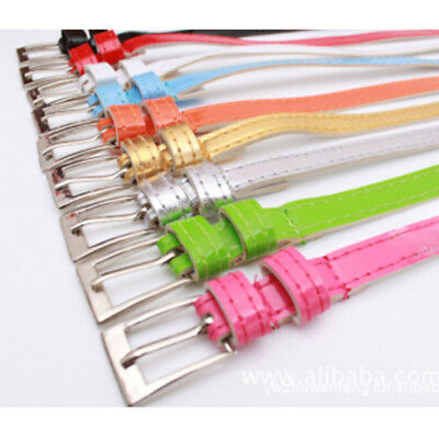 Women Female Multi-color Belt Small Candy Color Thin Leather Belts Applied