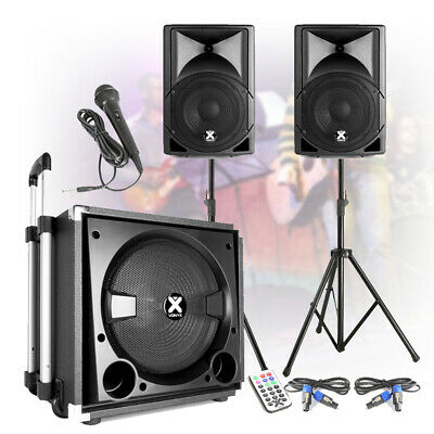 """PA Speaker Sound System Complete Live Band Performance Set with 12"""" Subwoofer"""
