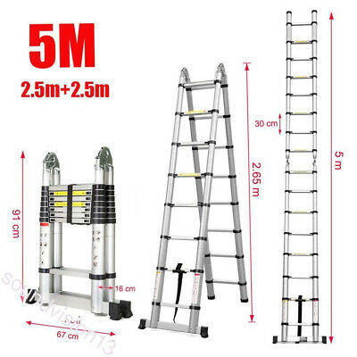5M Multi-Purpose Auminium Folding Telescopic Ladder A Frame Extendable Ladder UK