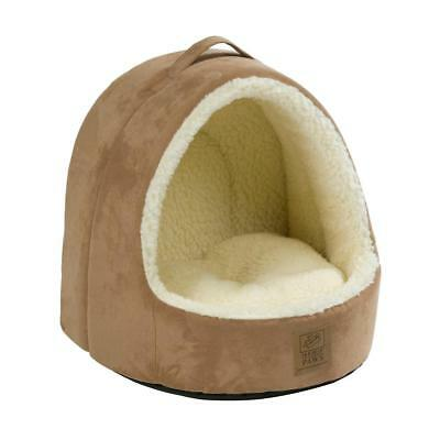 Luxury Hooded Faux Sheepskin Cat Bed Warm Soft Plush Small Pet Dog Sleep Home