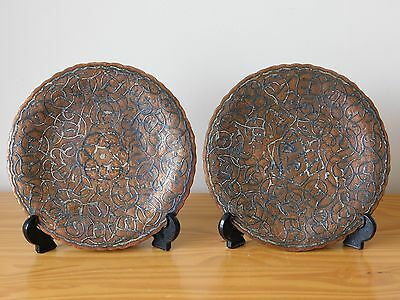 c.19th - Antique Vintage Islamic Persian Damascene Plate Tray Copper Silver Pair