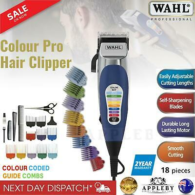 Wahl Colour Pro Electric Hair Clippers 18pcs Home Haircut Kit Groomer Clipper