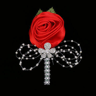 Artificial Bridal/Groom Wedding Buttonhole Corsage Boutonniere Red Rose