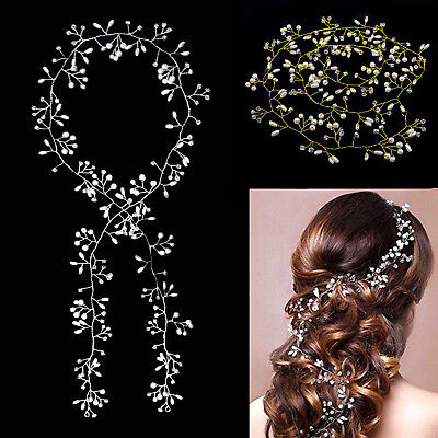 Pearls Wedding Hair Vine Crystal Bridal Accessories Diamante Flower Headpiece UK