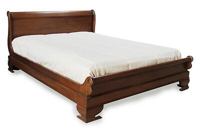 "SALE Solid Mahogany 4'6"" Double Sleigh Bed with Low Footboard Hand Carved B010"