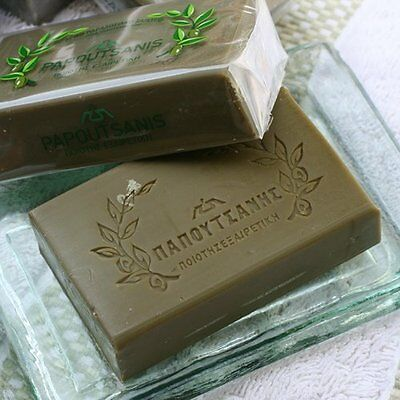 GREEK TRADITIONAL PURE GREEN OLIVE OIL SOAP 1 Pc PAPOUTSANIS SAVON ORGANIC