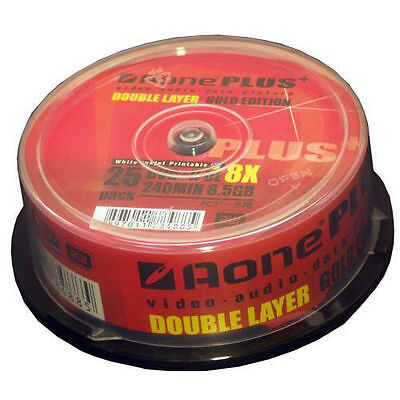 25 Pack Aone DVD+R DL 8x Plus Inkjet Printable 8.5GB DUAL LAYER Gold Edition FX1