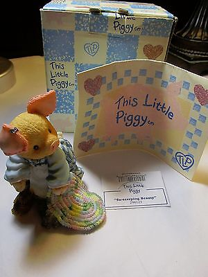 Enesco This Little Piggy Su-eeeeping Beauty Figurine NEW w BOX Registration Card