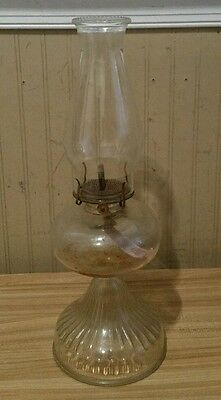 Antique Glass Kerosene Oil Lamp ~ Complete With Chimney & Wick