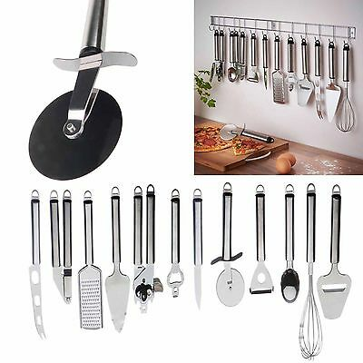 12 Pieces Stainless Steel Kitchen Utensil & Gadget Set with Hanging Rack Holder