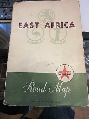 vintage Caltex Road Map of East Africa 1950`s