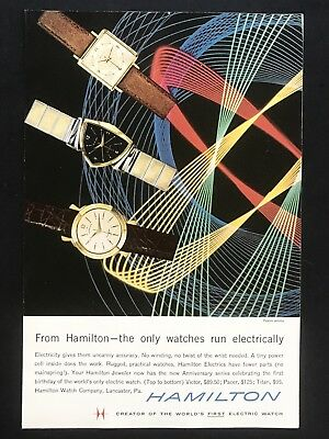 1958 Vintage Print Ad HAMILTON WATCHES Abstract Color Background Electric