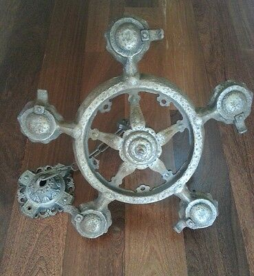 Vintage French Iron Metal Steel Medieval Very Old Chandelier!  From France!