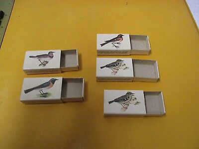 Vintage Swedish Match Co. Empty Box of Matches with Birds Lot of 5 (4 Different)