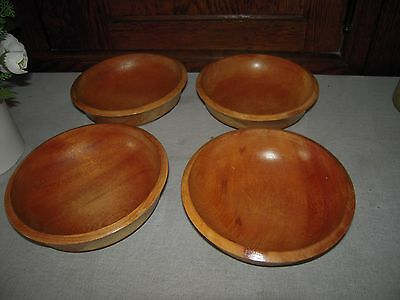 Woodpecker Wood-ware Hand Made Set of 4 Japanese Wooden Bowls