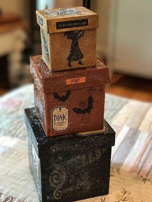 Halloween OOAK Waxed Paper Mache Set of 3 Stacked Boxes Witches Potions HP