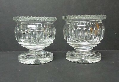 PAIR OF 19th C. HEAVY CUT CRYSTAL MASTER SALT CELLARS, c. 1880