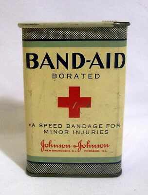VINTAGE 1920-30s JOHNSON & JOHNSON SLIDE TOP BAND AID ADVERTISING TIN CONTAINER
