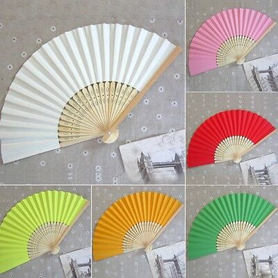 Chinese style Hand Held Fan Bamboo Silk Folding Fan Party Wedding Decor Paper SJ
