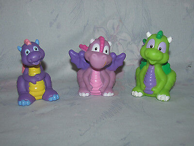 Fisher Price Little People Baby Dragon Lot 3 - Purple w/ Wings, Green - Castle