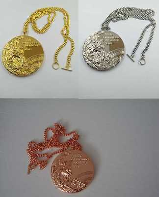 1976 Montreal Olympic Medals Set: Gold /Silver /Bronze with Chain & Display  !!!