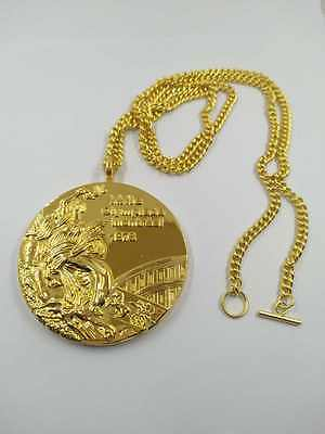 1976 Montreal Olympic Memorabilia 'Gold' Medal with Chain & Display Stand !!!