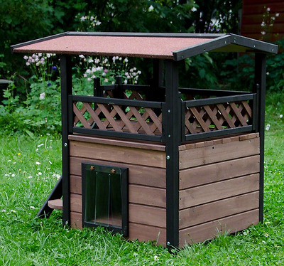 Cat Shelter Outdoor Garden Maisonette Rabbit Play House Sleeping Area Winter New