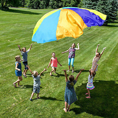 12' Ft Giant Parachute Toy Kids Sport Active Play Game Outdoor Teamwork Rainbow
