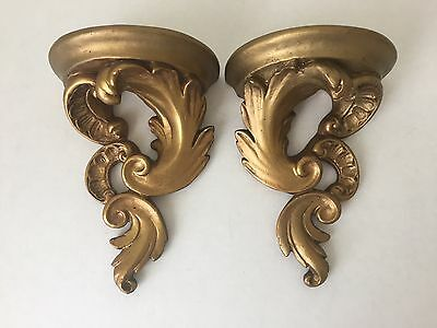 Pair of Vintage Gold Gilt Plaster Wall Sconces (S2)