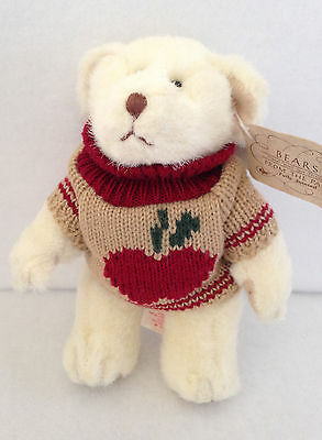 """Russ Berry & Co. Bears From the Past Teddy Bear Apple Sweater 6"""" 1106 White"""
