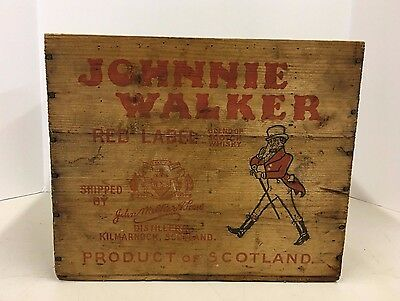 Vintage Johnnie Walker Red Label Wood Wooden Crate Box Scotch Canada Dry