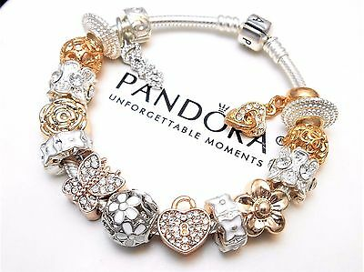 Authentic Pandora Sterling Silver Charm Bracelet With Gold Heart European Charms