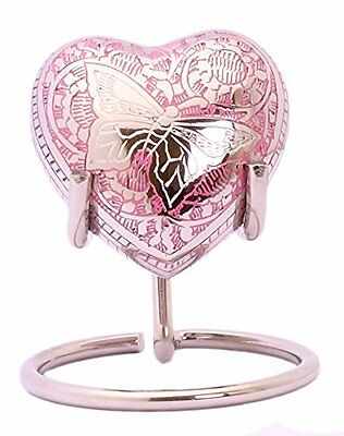 Mini Urn For Ashes Cremation Memorial Small Heart Keepsake Pink Butterfly &Stand