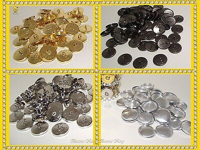 40 - 1000 Wholesale Fabric Covered Buttons Blanks ENGLAND Metal Gold Silver 36L