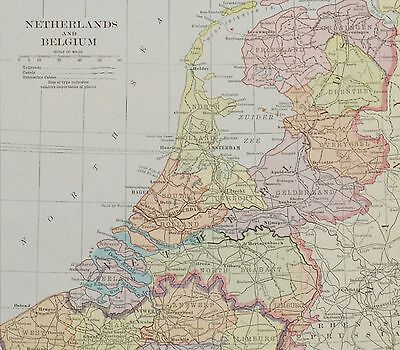 1915 Antique Netherlands/Belgium Map - Vintage Europe Map - Old Map Print - Maps