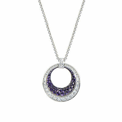 Chopard 18K White Gold Diamond and Amethyst Pave Large Ring Pendant Necklace