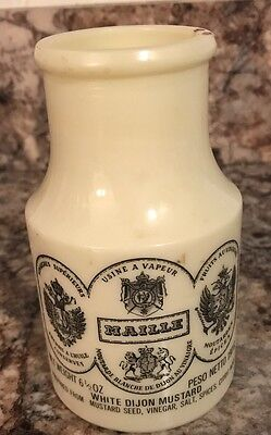 MAILLE French White Dijon Mustard Vintage Glass Jar Made in FRANCE EMPTY